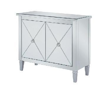 Glam Cabinet w/ Mirror Doors & Nickel Hardware
