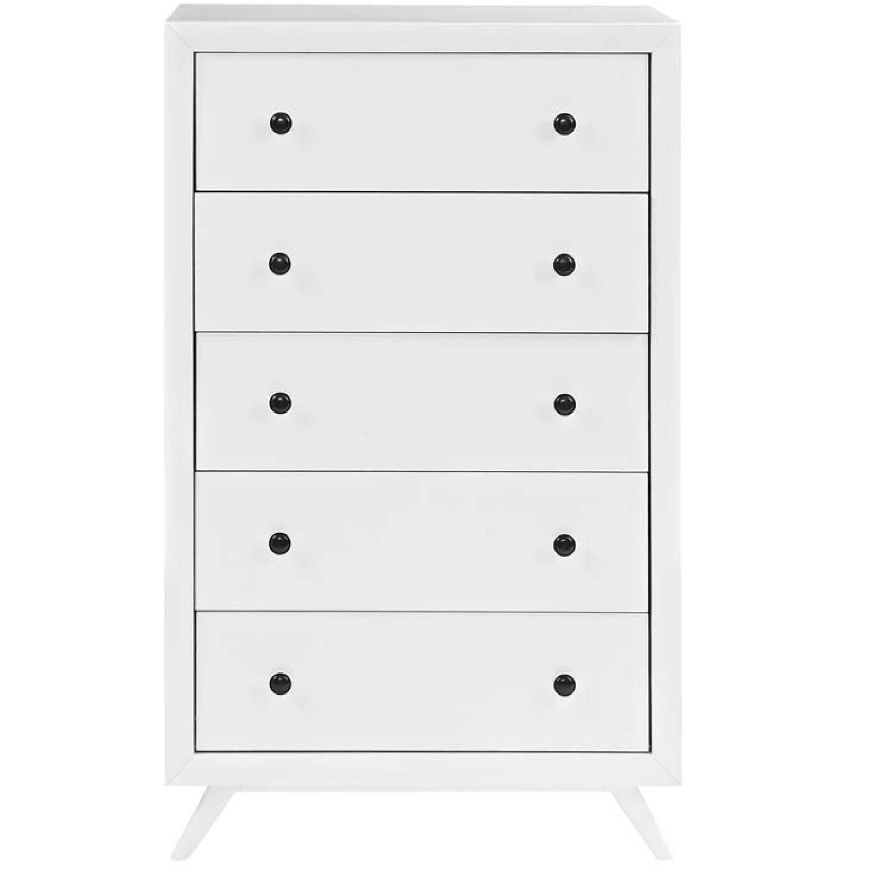 Mid Century Modern 6 Drawer Dresser in White-0