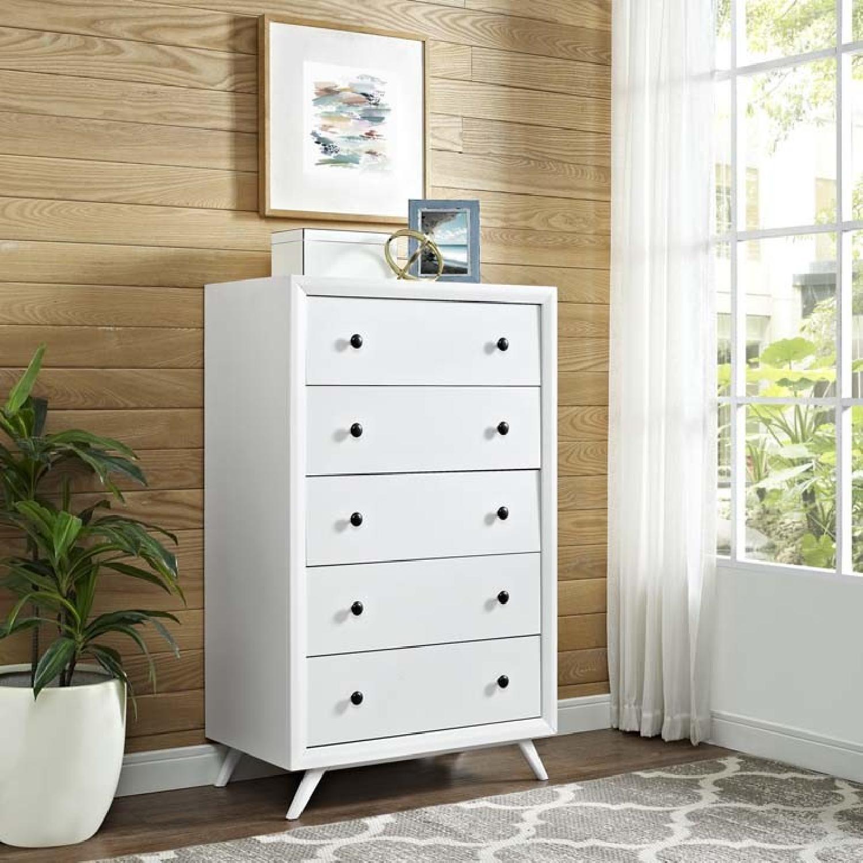 Mid Century Modern 6 Drawer Dresser in White-2