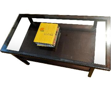 Pottern Barn Steel Frame Glass Coffee Table
