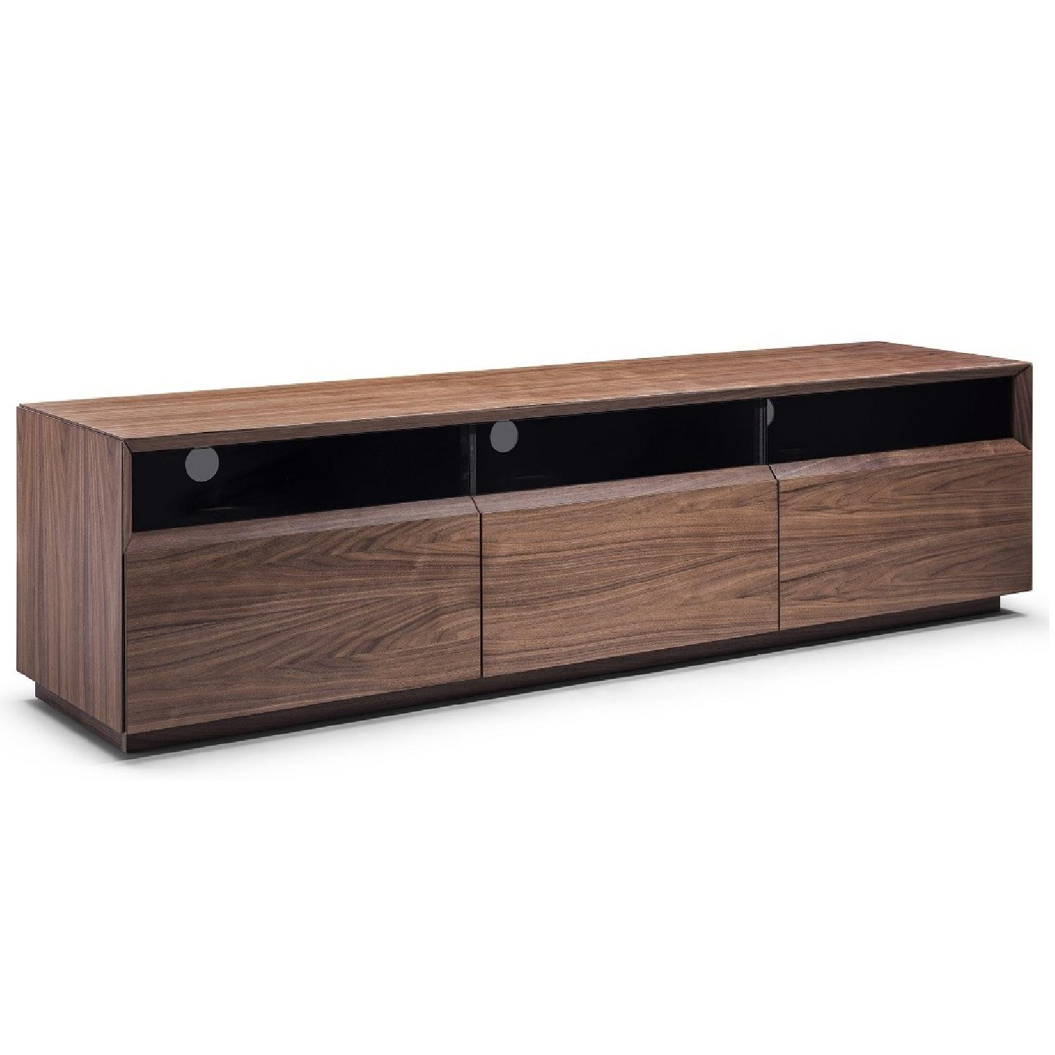 Contemporary TV Stand in Walnut w/ 3 Soft Close Drawer