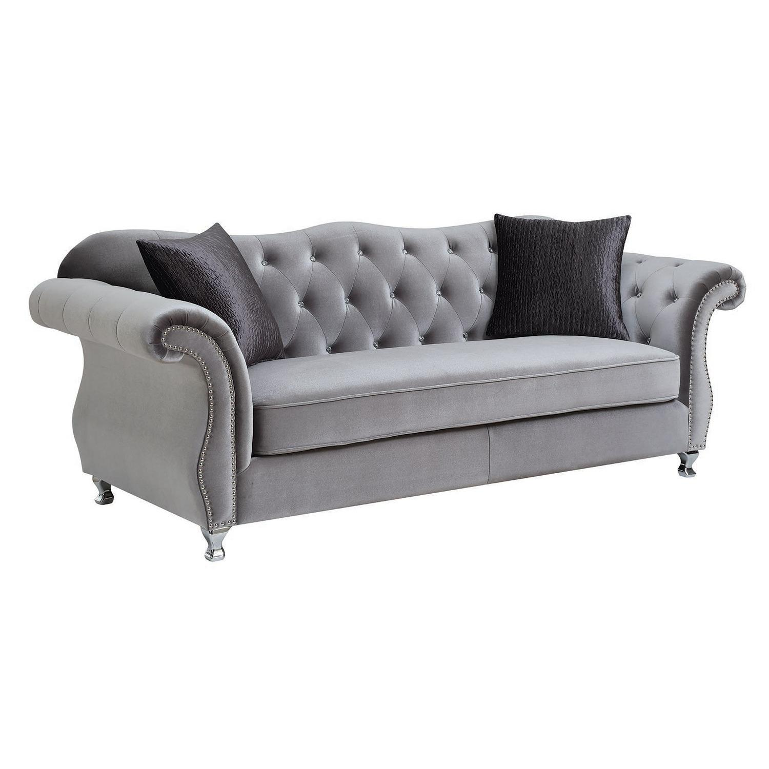 Grey Velvet Sofa W/ Tufted Crystal Accent ...
