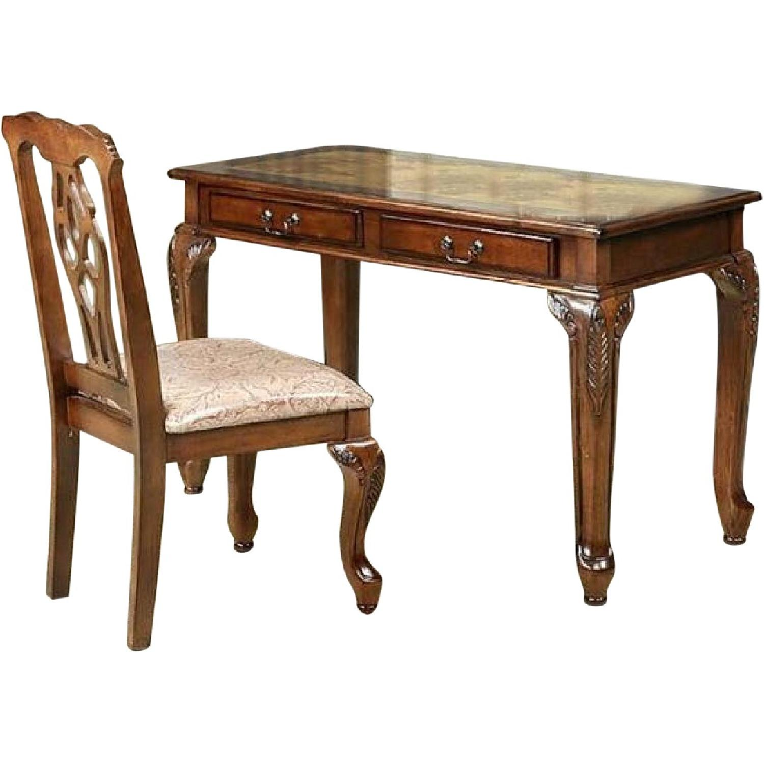Writing Desk & Chair in Golden Brown Finish