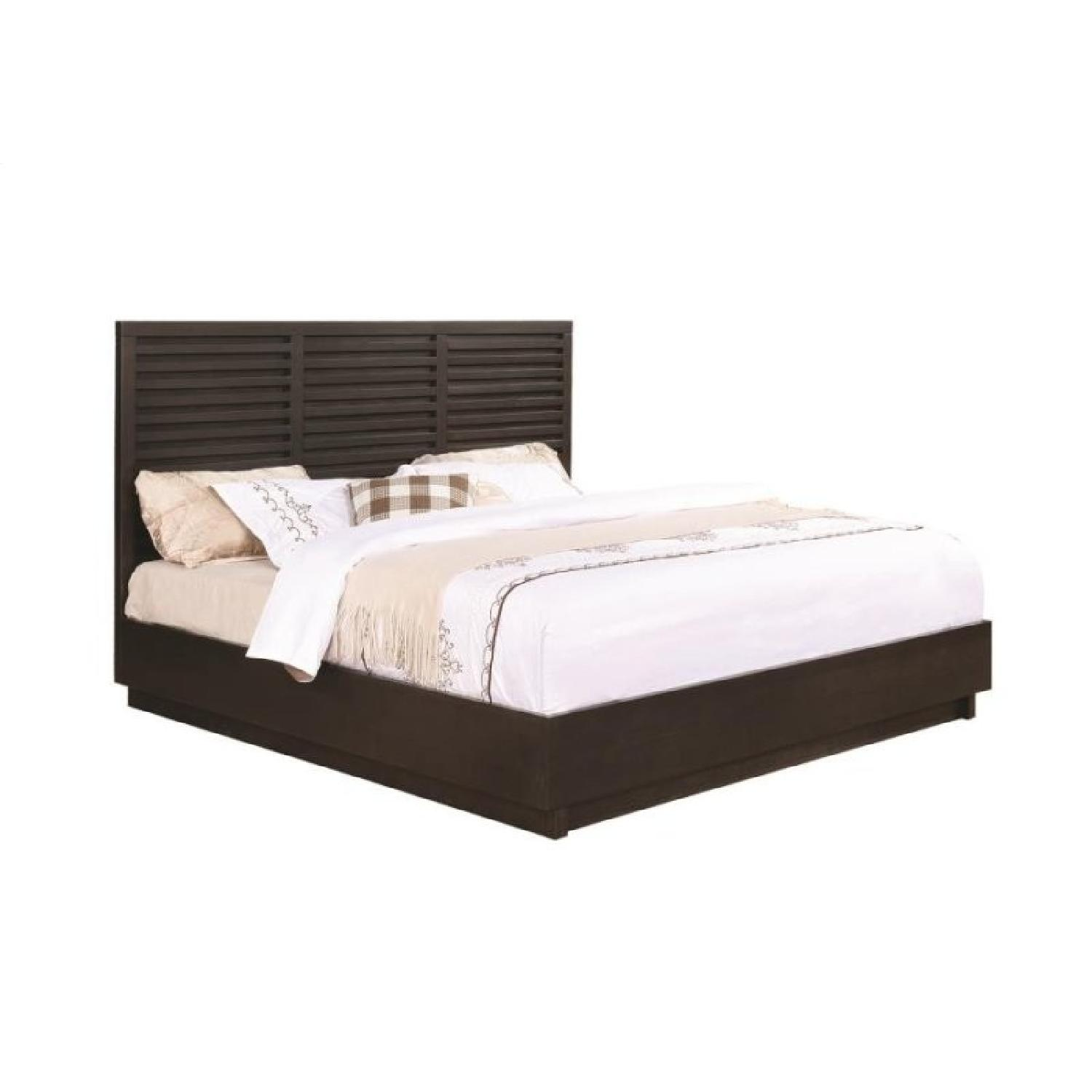 Transitional Style King Size Bed in Graphite Finish