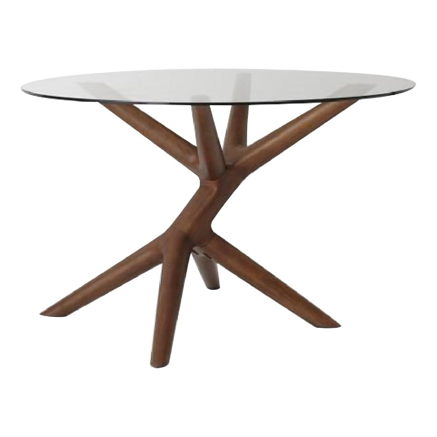 West Elm John Vogel Round Glass Top Dining Table