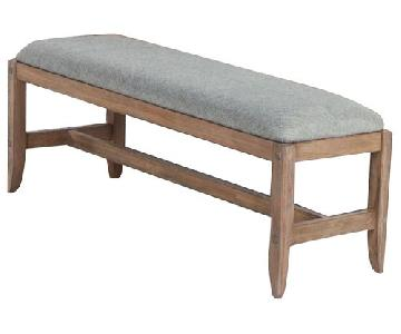 Bench in White Wash Natural Finish w/ Padded Seat