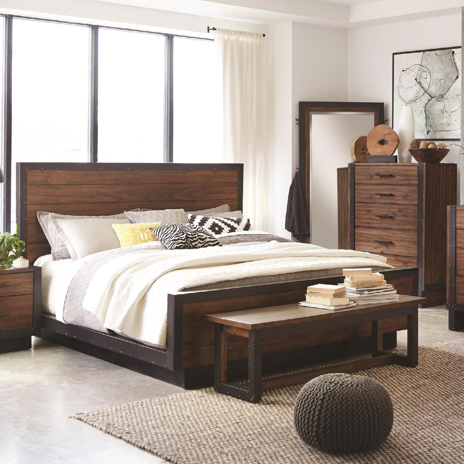 Industrial Rustic Modern King Size Bed in Bourbon Brown