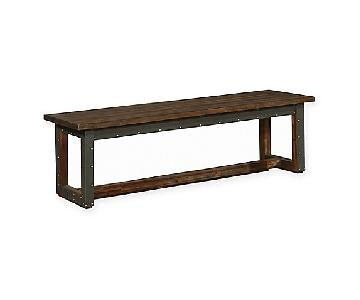 Industrial Rustic Bench in Bourbon Brown w/ Nailhead Accent