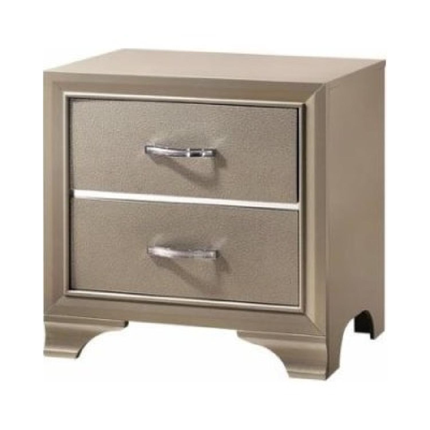 Champagne Gold Leatherette Nightstand w/ Sparkles