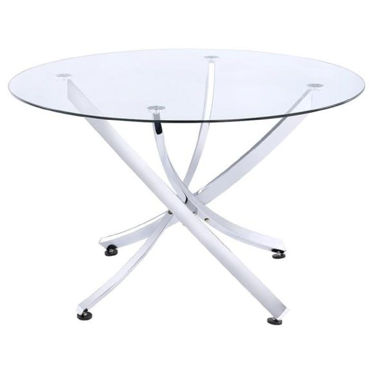 Dining Table w/ Puzzle Chrome Base & Round Glass Top