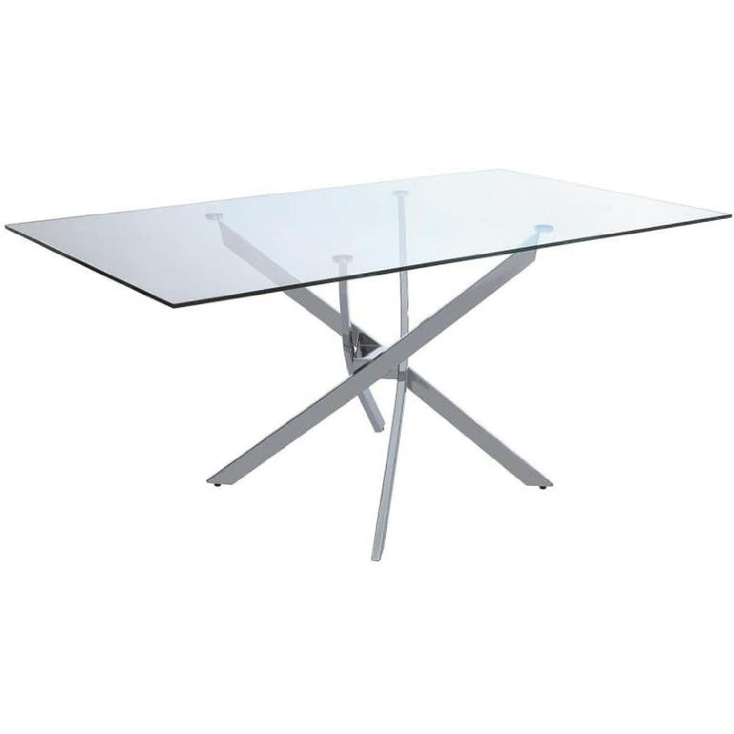 Contemporary Dining Table w/ Chrome Base & Glass Top