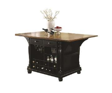 2-Tone Kitchen Island w/ Expandable Top & Storage Organizers
