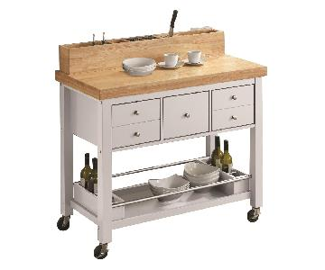Kitchen Island in Natural & White Finish w/ Casters