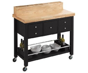 Kitchen Island in Natural & Black Finish w/ Casters