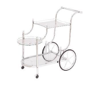 Steel Frame Serving Cart w/ Guardrails & Glass Shelves