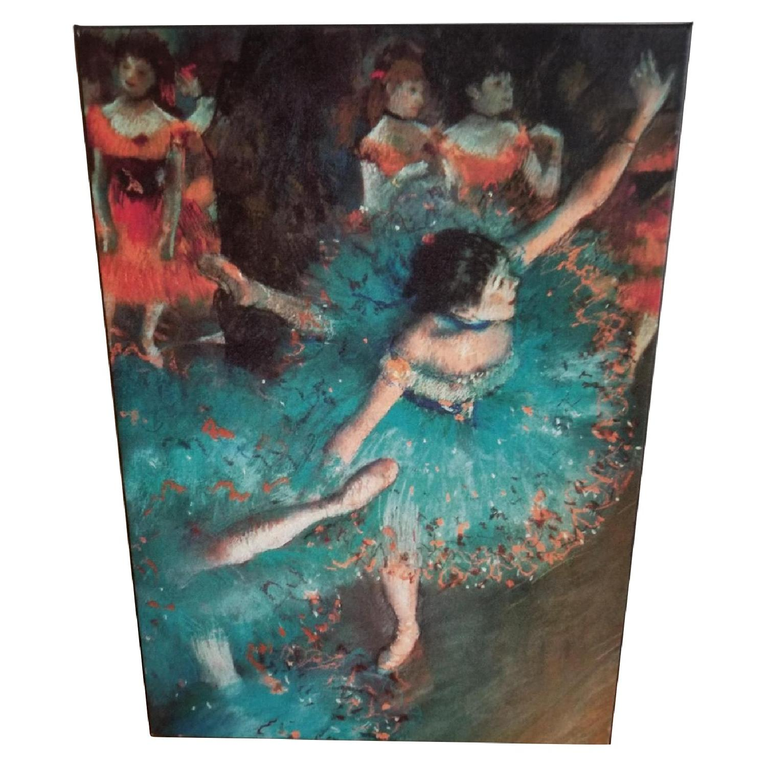 Degas Green Dancer Stretched Canvas Print Painting
