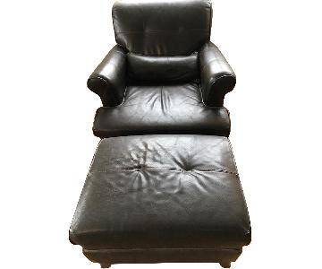 Dark Brown Leather Club Chair & Ottoman