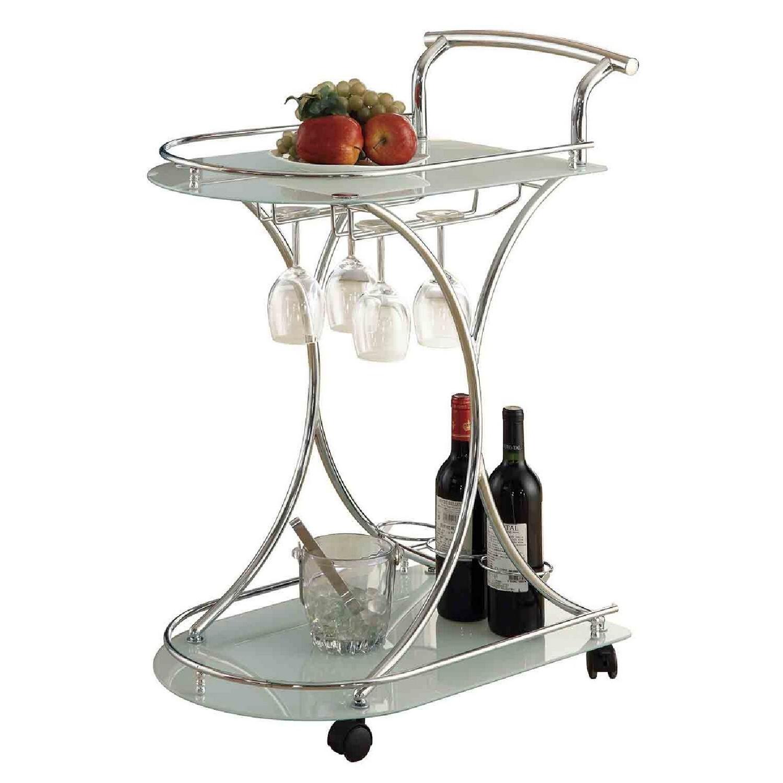 Modern Serving Cart in Steel Frame & Frosted Glass Shelves