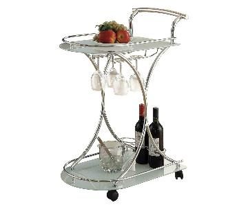 Modern Serving Cart in Steel Frame & Frosted Glass Shelves
