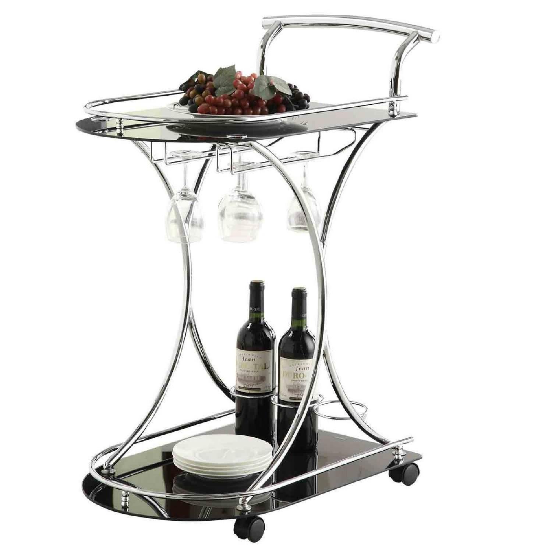 Modern Serving Cart in Steel Frame & Black Glass Shelves