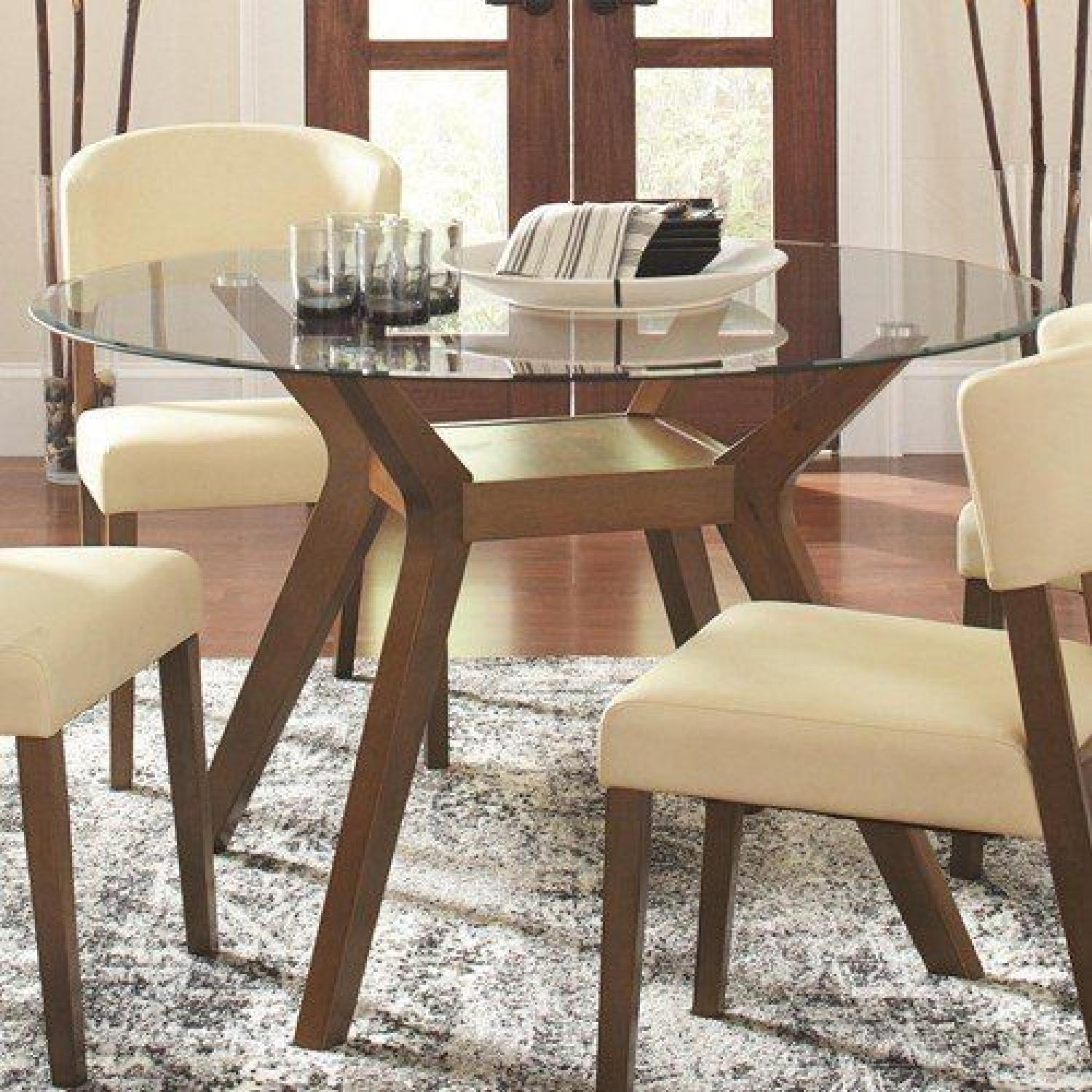 Mid Century Style Round Tempered Glass Top Dining Table Aptdeco
