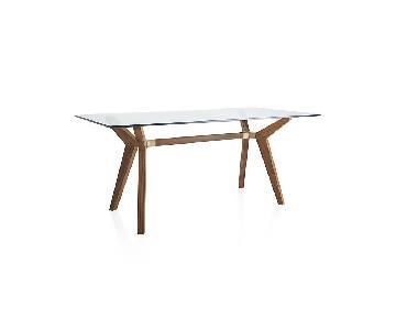 Crate & Barrel Strut Teak Glass Table