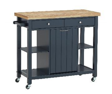 Navy Blue Kitchen Island/Cart w/ Storage