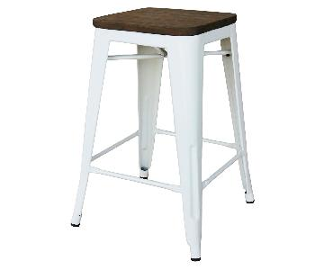 Target Threshold Hampden White Industrial Stools w/ Wood Top