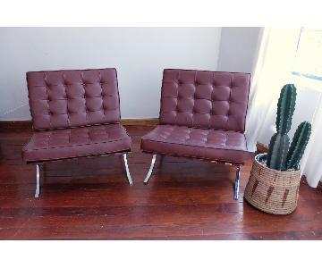 Vintage Retro Mid Century Barcelona Style Lounge Chairs