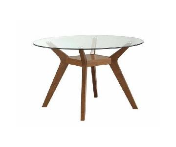 Mid-Century Style Round Tempered Glass Top Dining Table