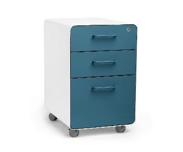 Poppin White & Slate Blue Stow 3-Drawer File Cabinet