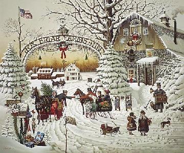 Charles Wysocki Christmas Greeting Signed Lithograph