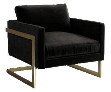 Anthropologie Meredith Custom Chair in Black Velvet & Brass