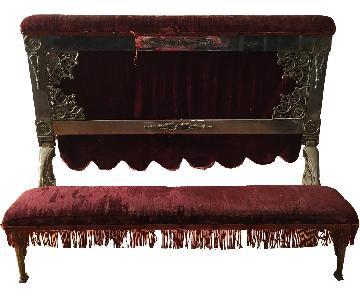 Antique Red Velvet Confessional Folding Kneeling Bench
