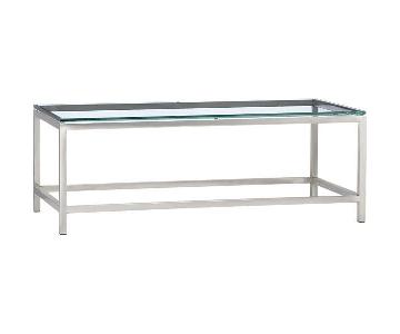 Crate & Barrel Era Rectangular Glass Coffee Table