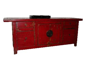 Red Painted Credenza