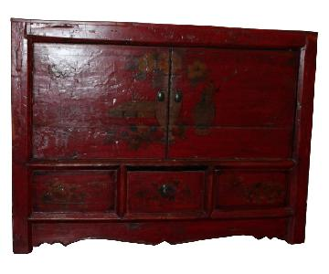 Red Wood Hall Storage Cabinet/Chest