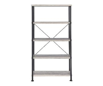 Industrial 4-Tier Bookcase in Grey Driftwood Veneer Finish