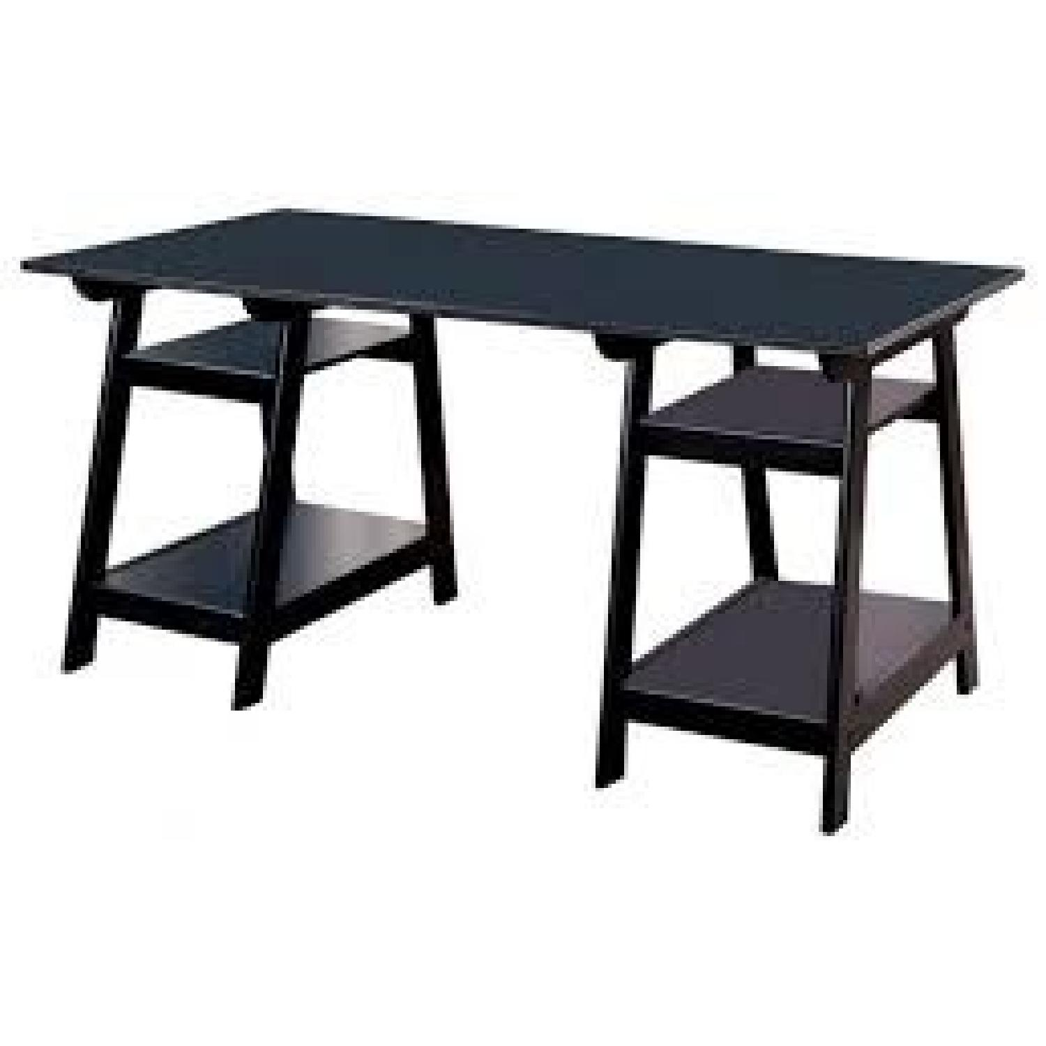 Large Writing Desk in Black Finish w/ Storage Shelves