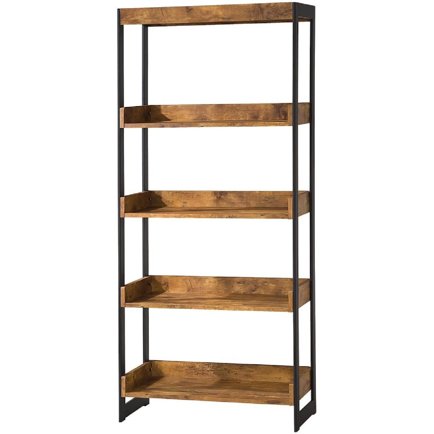Industrial Style 4-Tier Bookcase in Antique Nutmeg Veneer