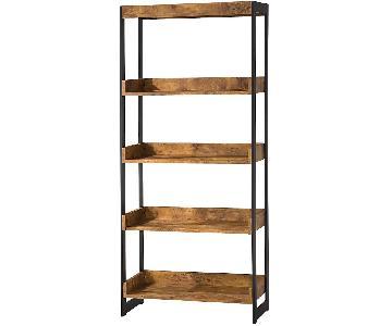 Industrial Style 4-Tier Bookcase in Antique Nutmeg Veneer