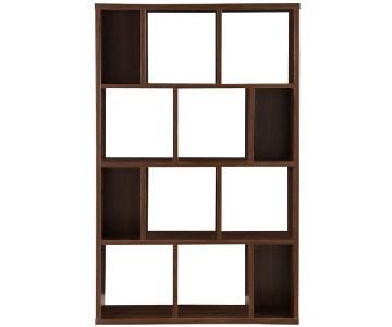Contemporary Asymmetrical Bookshelf in Dark Walnut Finish