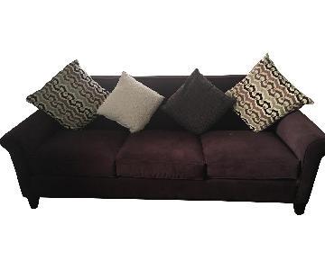 Raymour & Flanigan Dark Purple Microsuede Sofa