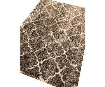 Moroccan Trellis Design Grey Shag Rug