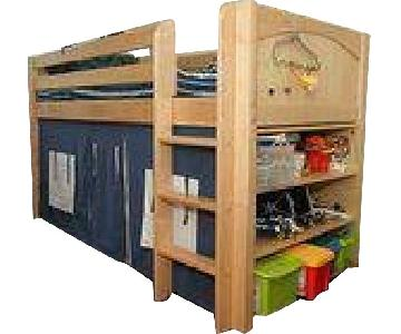 Matrix White Wood Twin Over Twin Bunk Bed w/ Straight Ladder