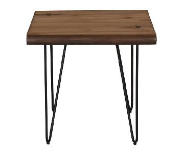 Live Edge Mid Century Style End Table w/ Hairpin Legs