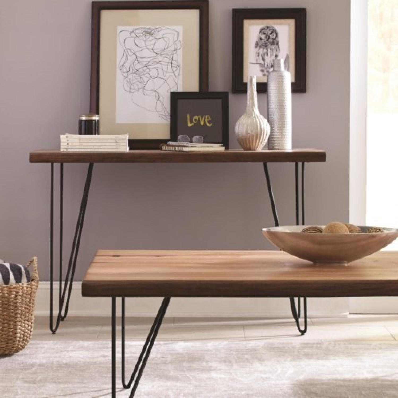 Live Edge Mid Century Style Sofa Table w/ Hairpin Legs