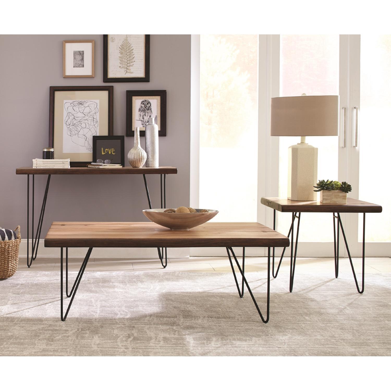 Live Edge Mid Century Style Sofa Table w/ Hairpin Legs - AptDeco