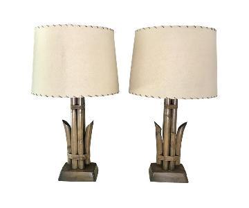 Mid Century Rattan Table Lamps