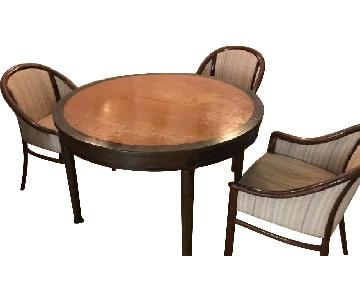 Vintage Round Walnut Expandable Dining Table